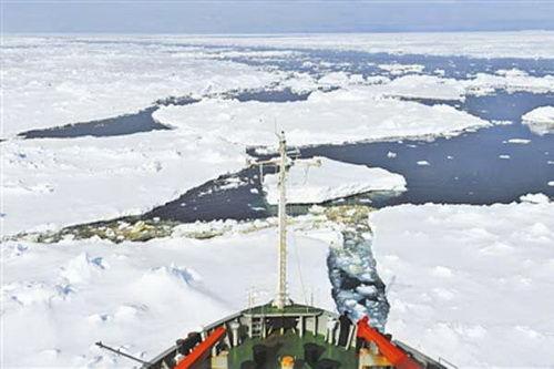 """""""雪龙""""号开始中国首次环南极大陆航行的征程"""