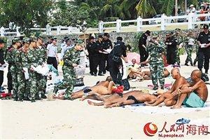男子执意在沙滩裸晒被三亚警方拘留五日