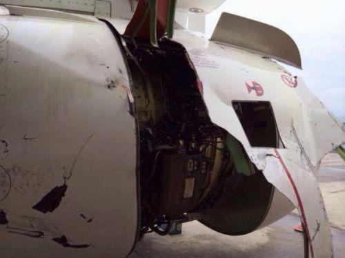 巴西一架客机飞行途中左侧引擎蒙皮部分脱落