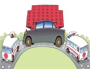 公车堵住 医院大门