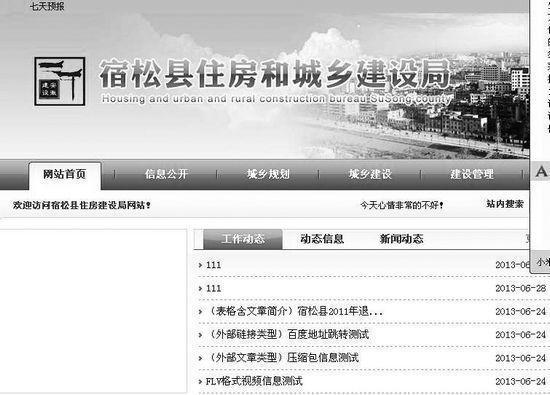 """安徽一政府网站首页滚动:""""心情很不好"""""""